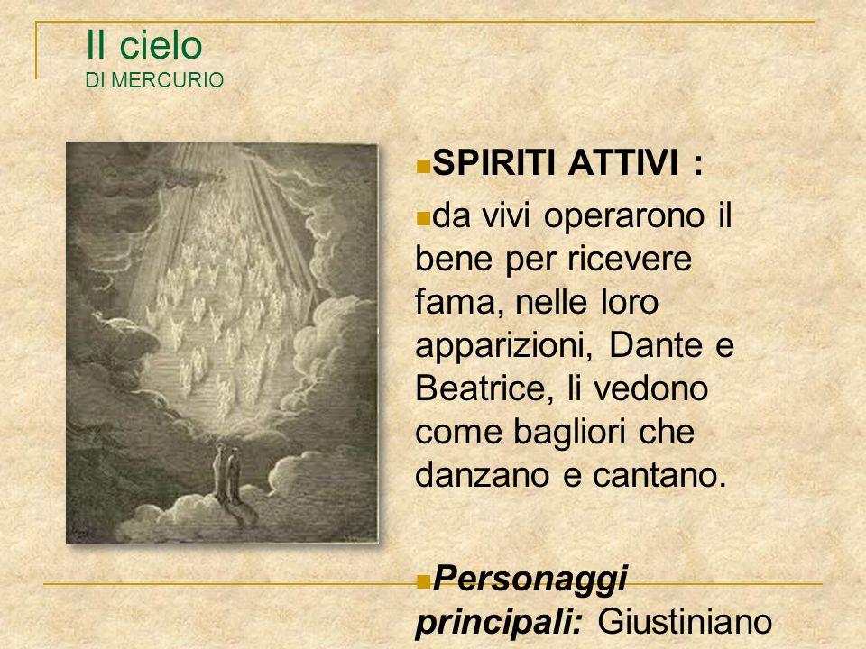 II cielo DI MERCURIO SPIRITI ATTIVI : da vivi operarono il bene per ricevere fama, nelle loro apparizioni, Dante e Beatrice, li vedono come bagliori c