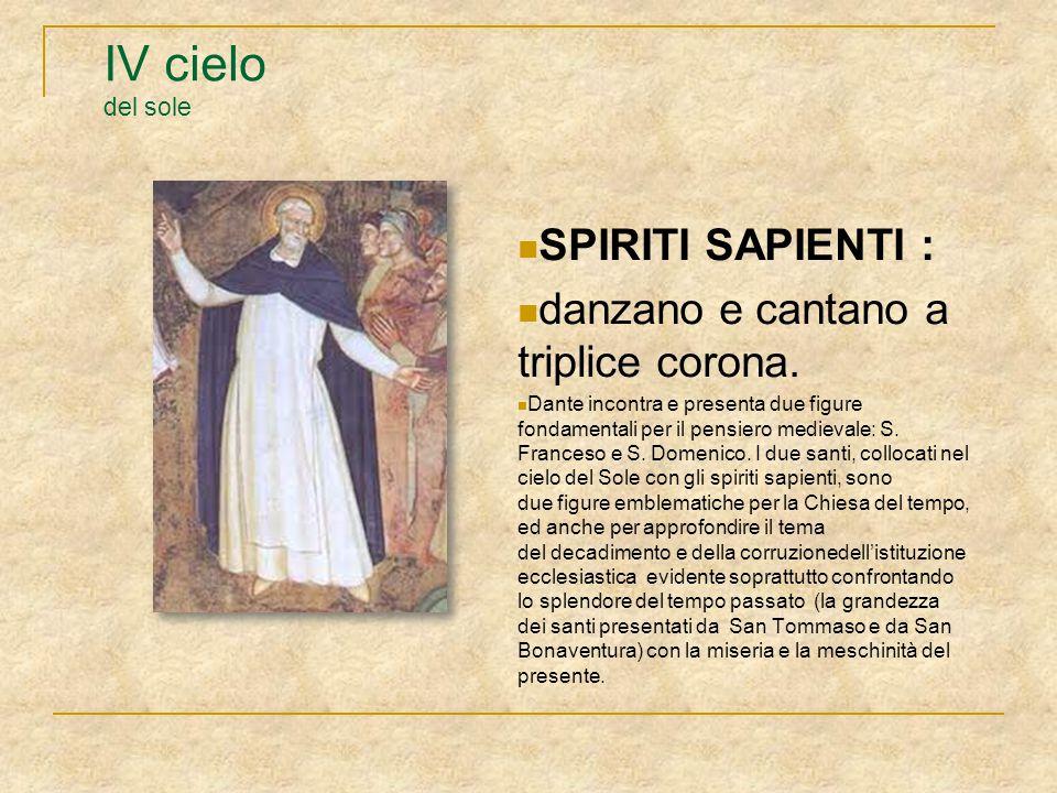 IV cielo del sole SPIRITI SAPIENTI : danzano e cantano a triplice corona. Dante incontra e presenta due figure fondamentali per il pensiero medievale: