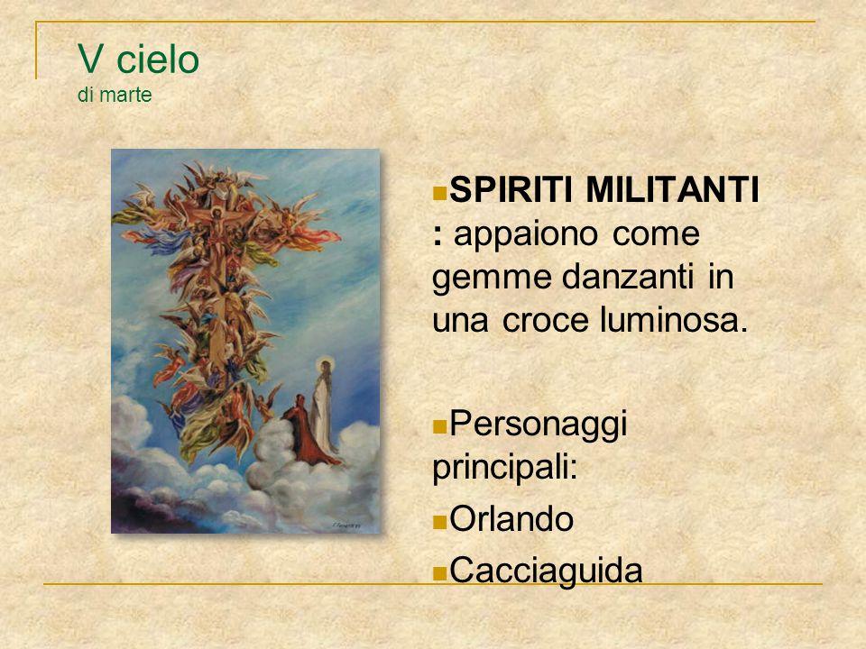 V cielo di marte SPIRITI MILITANTI : appaiono come gemme danzanti in una croce luminosa. Personaggi principali: Orlando Cacciaguida