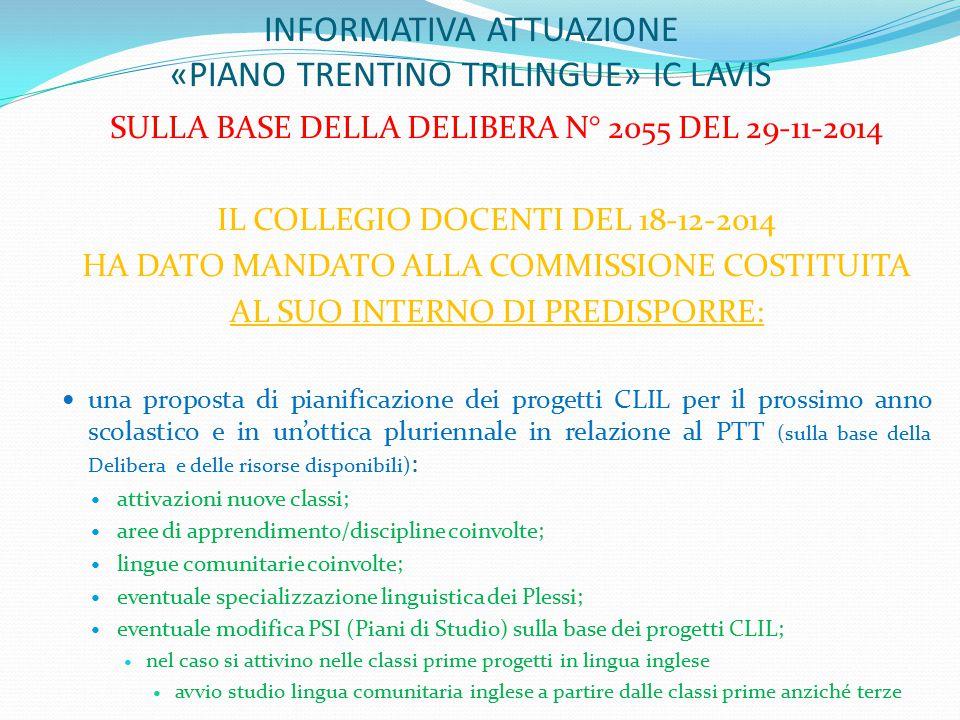 Progetti CLIL deliberati per la Scuola Secondaria di primo grado IC Lavis a.s.