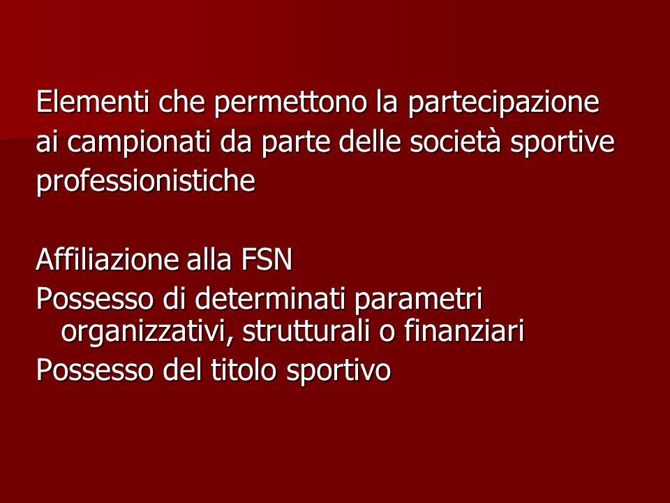 Elementi che permettono la partecipazione ai campionati da parte delle società sportive professionistiche Affiliazione alla FSN Possesso di determinati parametri organizzativi, strutturali o finanziari Possesso del titolo sportivo