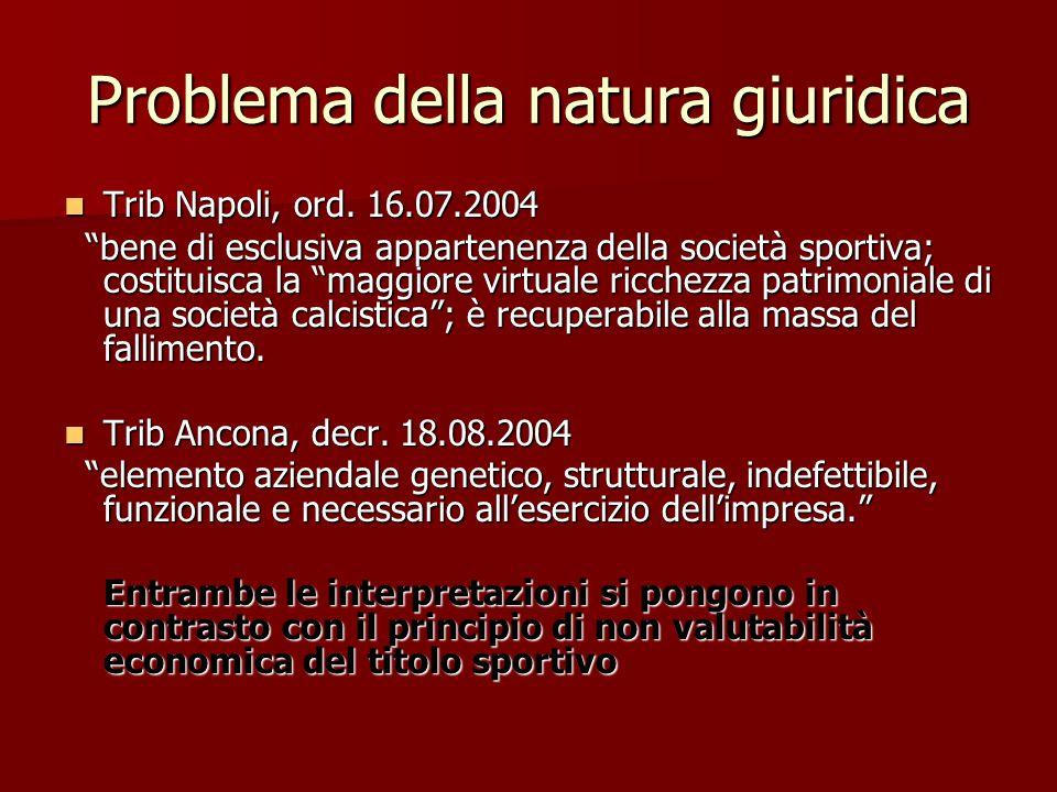 Problema della natura giuridica Trib Napoli, ord. 16.07.2004 Trib Napoli, ord.