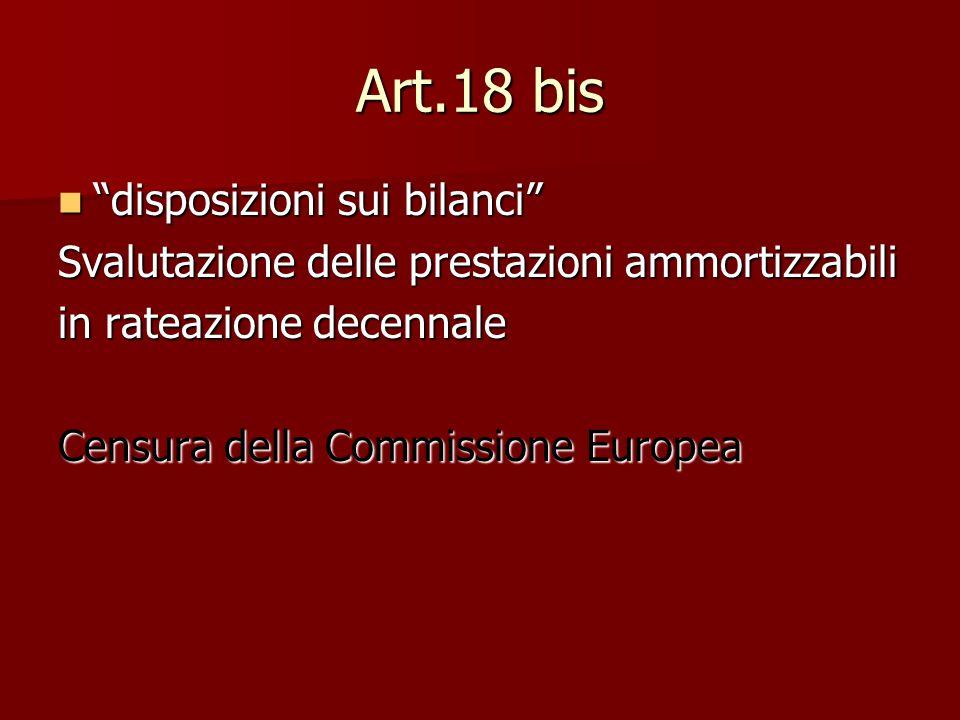 Art.18 bis disposizioni sui bilanci disposizioni sui bilanci Svalutazione delle prestazioni ammortizzabili in rateazione decennale Censura della Commissione Europea