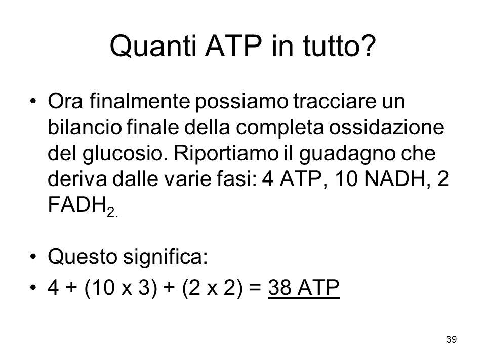 39 Quanti ATP in tutto? Ora finalmente possiamo tracciare un bilancio finale della completa ossidazione del glucosio. Riportiamo il guadagno che deriv