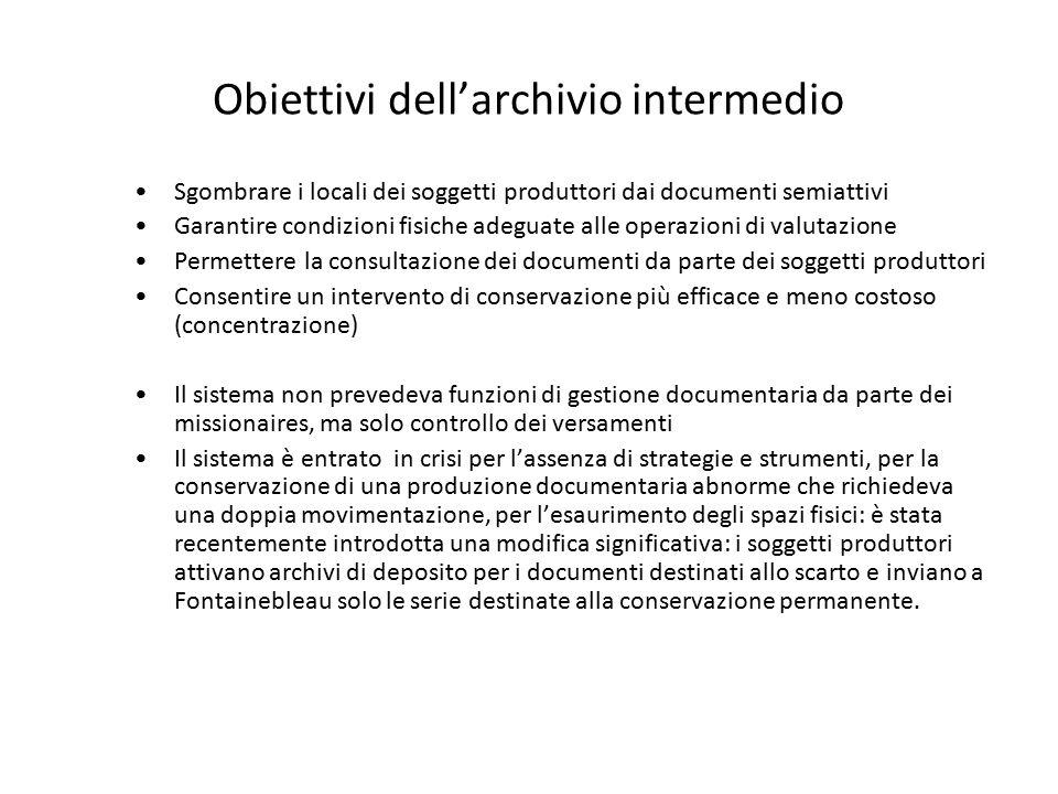 Obiettivi dell'archivio intermedio Sgombrare i locali dei soggetti produttori dai documenti semiattivi Garantire condizioni fisiche adeguate alle oper