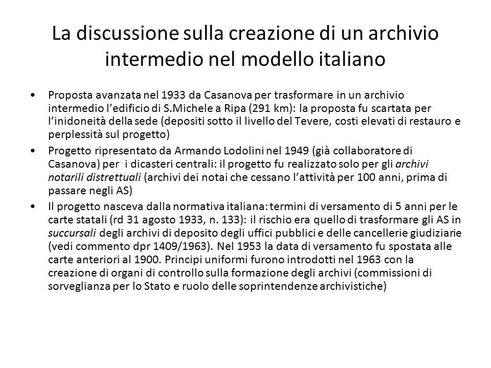 La discussione sulla creazione di un archivio intermedio nel modello italiano Proposta avanzata nel 1933 da Casanova per trasformare in un archivio in