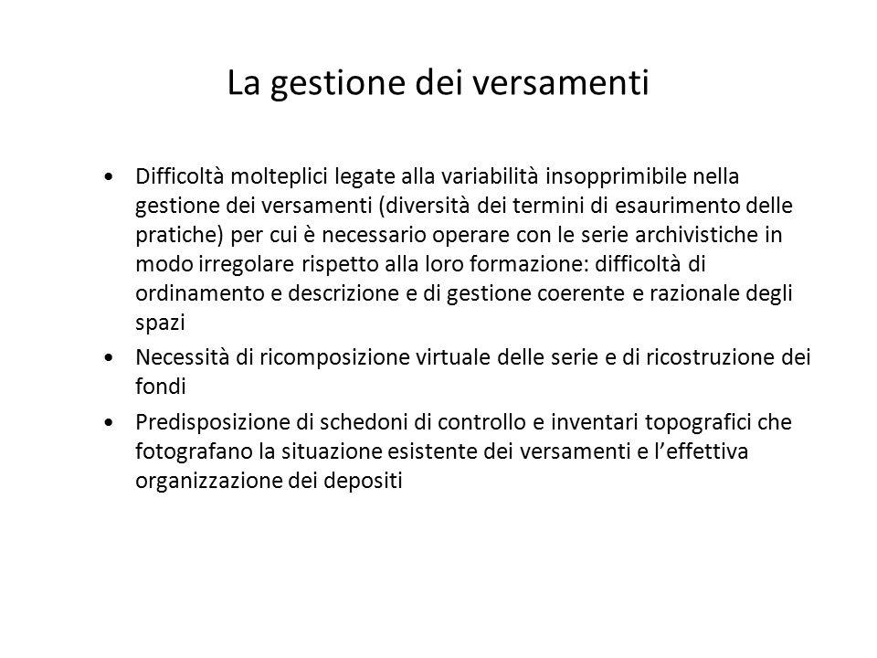 La gestione dei versamenti Difficoltà molteplici legate alla variabilità insopprimibile nella gestione dei versamenti (diversità dei termini di esauri