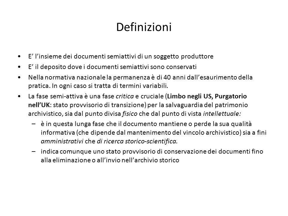 Definizioni E' l'insieme dei documenti semiattivi di un soggetto produttore E' il deposito dove i documenti semiattivi sono conservati Nella normativa