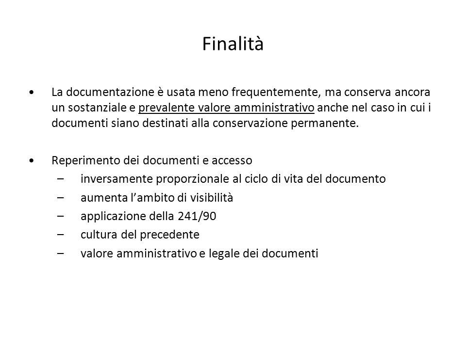 Finalità La documentazione è usata meno frequentemente, ma conserva ancora un sostanziale e prevalente valore amministrativo anche nel caso in cui i d