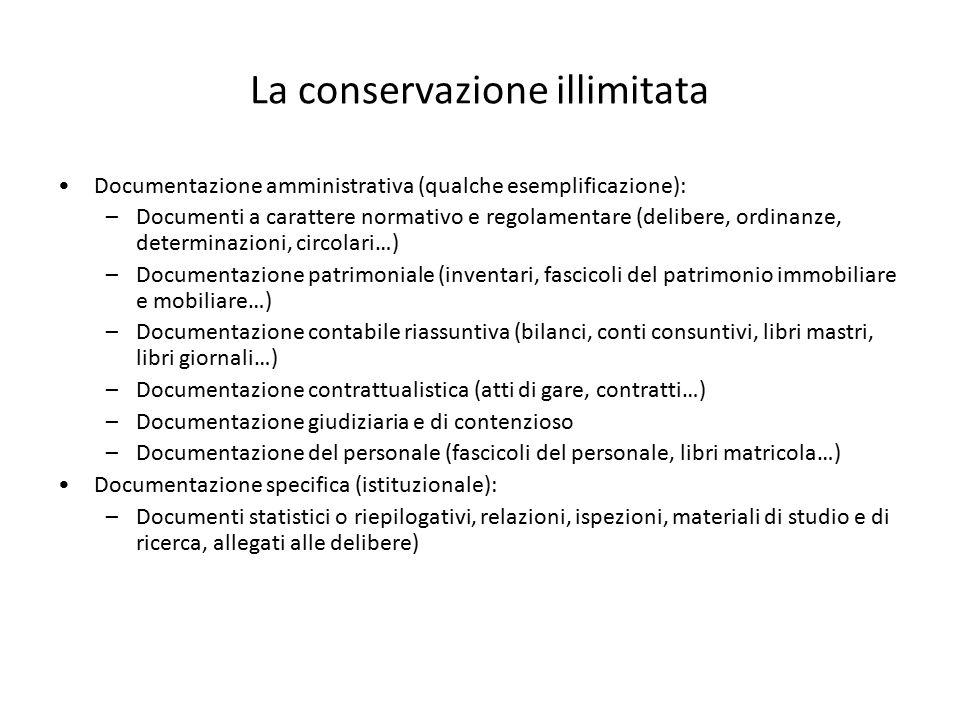 La conservazione illimitata Documentazione amministrativa (qualche esemplificazione): –Documenti a carattere normativo e regolamentare (delibere, ordi