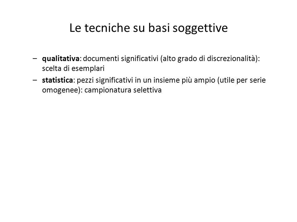 Le tecniche su basi soggettive –qualitativa: documenti significativi (alto grado di discrezionalità): scelta di esemplari –statistica: pezzi significa