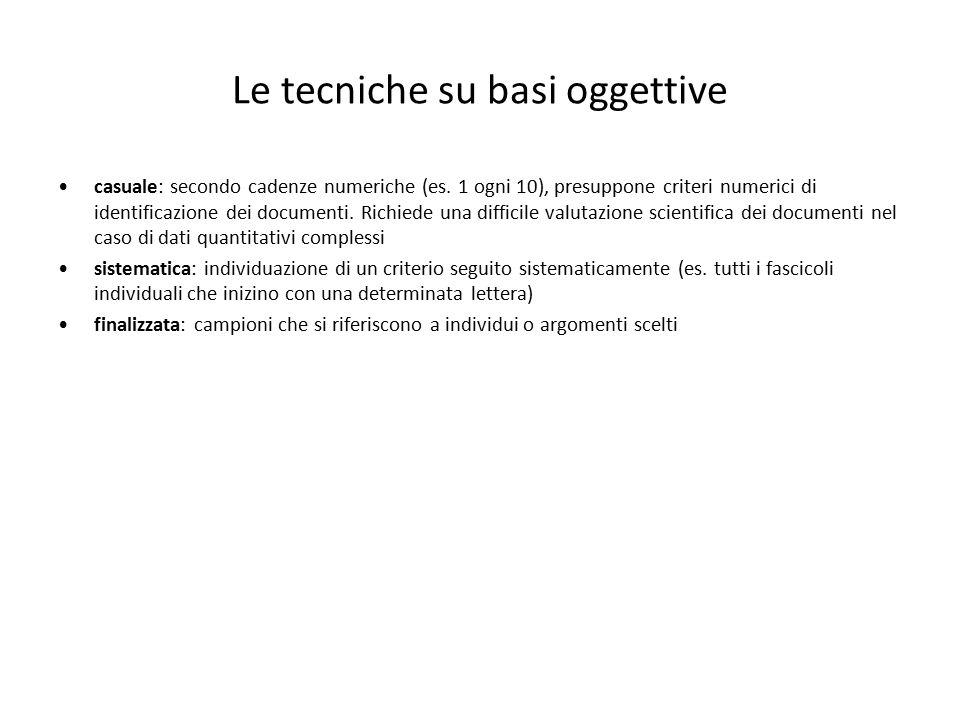Le tecniche su basi oggettive casuale: secondo cadenze numeriche (es. 1 ogni 10), presuppone criteri numerici di identificazione dei documenti. Richie