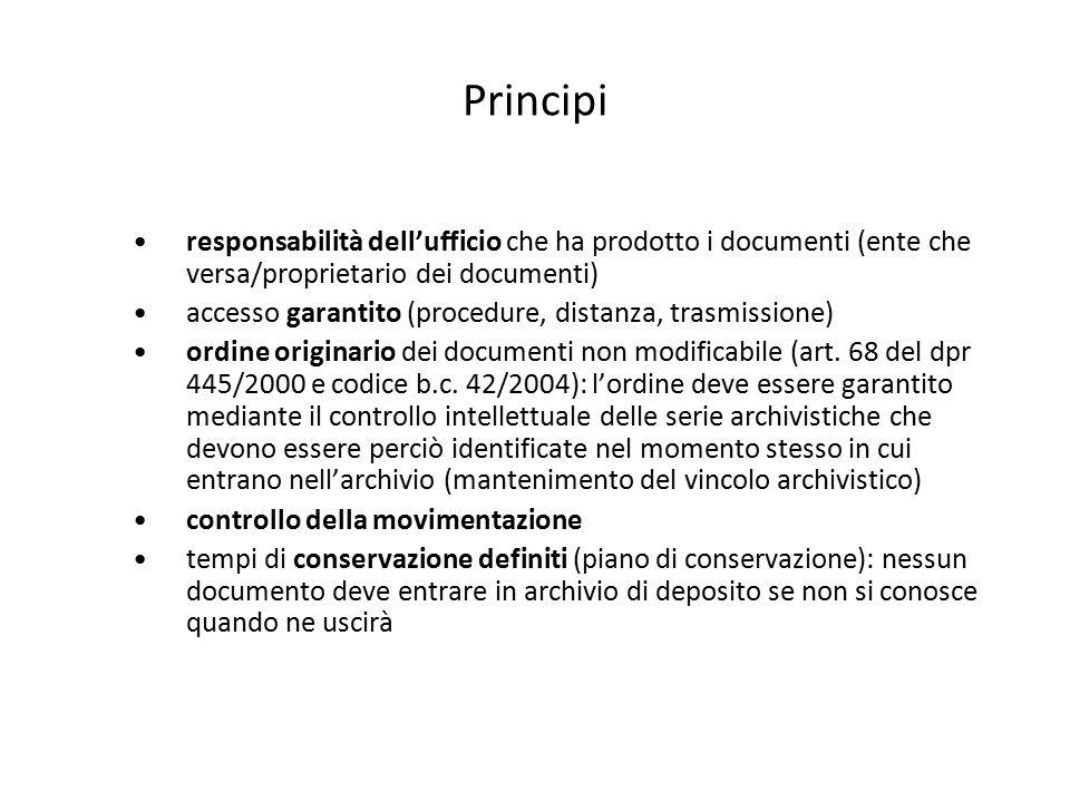Principi responsabilità dell'ufficio che ha prodotto i documenti (ente che versa/proprietario dei documenti) accesso garantito (procedure, distanza, t