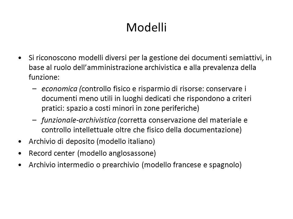Modelli Si riconoscono modelli diversi per la gestione dei documenti semiattivi, in base al ruolo dell'amministrazione archivistica e alla prevalenza