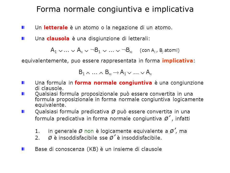 Forma normale congiuntiva e implicativa Un letterale è un atomo o la negazione di un atomo.