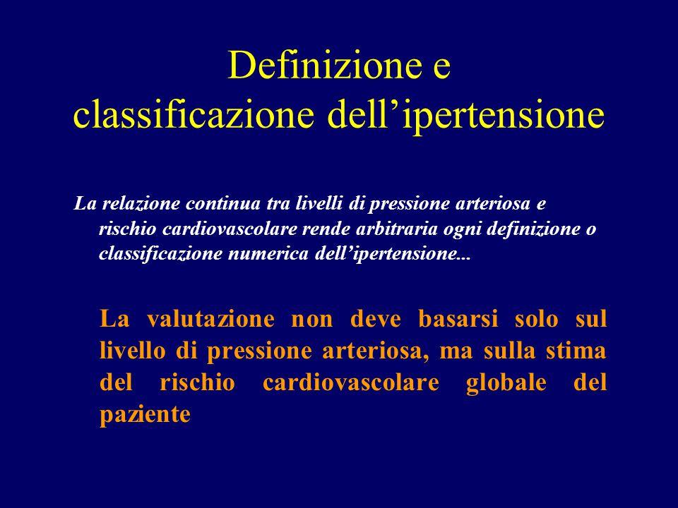 Definizione e classificazione dell'ipertensione La relazione continua tra livelli di pressione arteriosa e rischio cardiovascolare rende arbitraria og