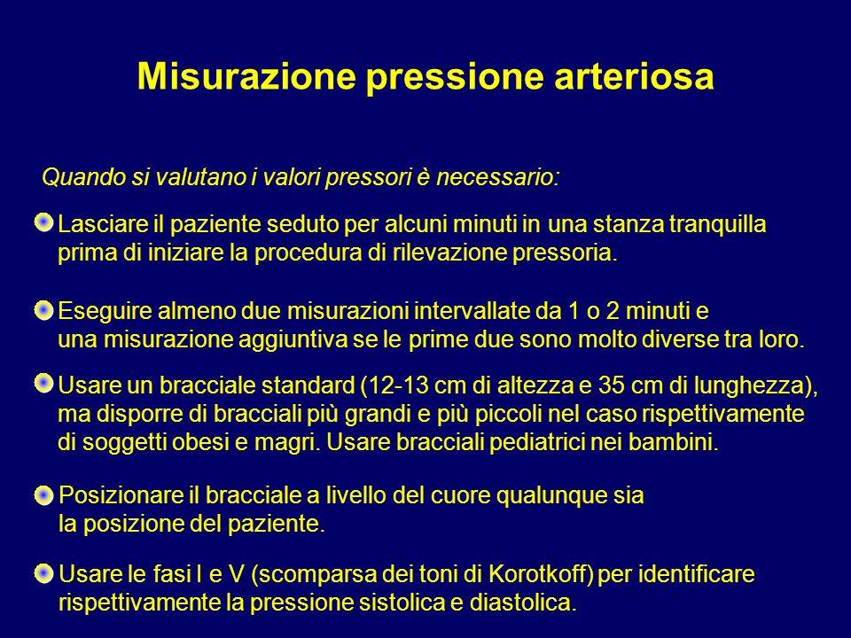 Usare le fasi I e V (scomparsa dei toni di Korotkoff) per identificare rispettivamente la pressione sistolica e diastolica. Lasciare il paziente sedut