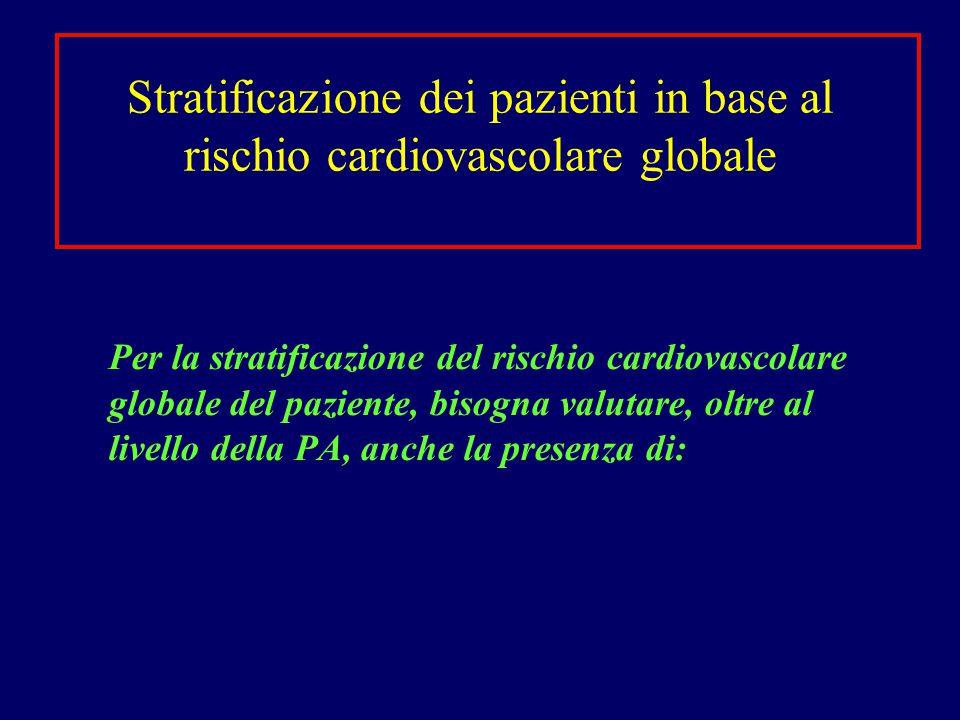 Stratificazione dei pazienti in base al rischio cardiovascolare globale Per la stratificazione del rischio cardiovascolare globale del paziente, bisog