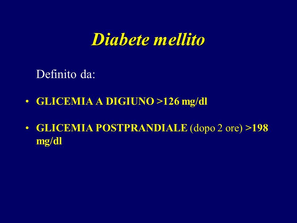 Diabete mellito Definito da: GLICEMIA A DIGIUNO >126 mg/dl GLICEMIA POSTPRANDIALE (dopo 2 ore) >198 mg/dl