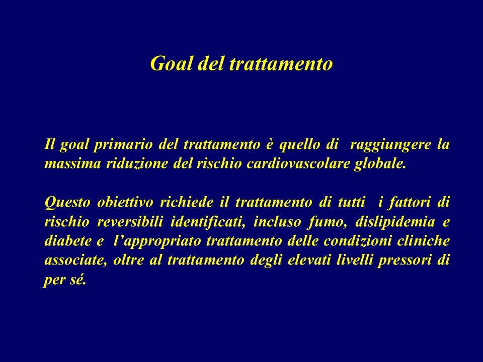 Goal del trattamento Il goal primario del trattamento è quello di raggiungere la massima riduzione del rischio cardiovascolare globale. Questo obietti