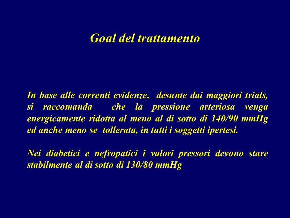 Goal del trattamento In base alle correnti evidenze, desunte dai maggiori trials, si raccomanda che la pressione arteriosa venga energicamente ridotta