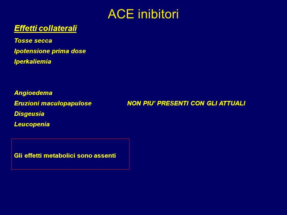 ACE inibitori Effetti collaterali Tosse secca Ipotensione prima dose Iperkaliemia Angioedema Eruzioni maculopapuloseNON PIU' PRESENTI CON GLI ATTUALI