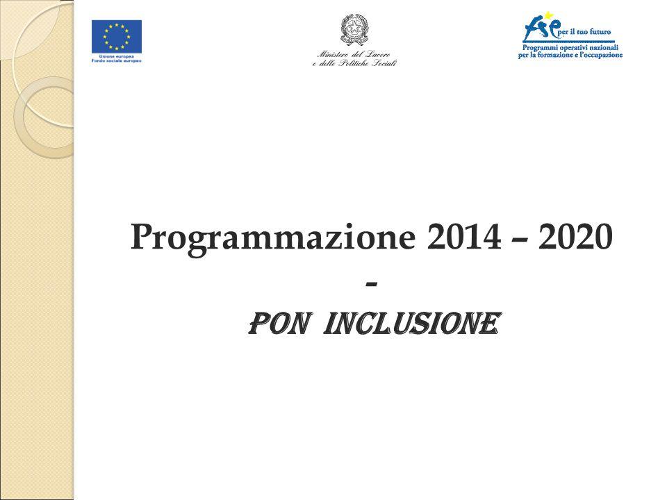 Programmazione 2014 – 2020 - PON INCLUSIONE