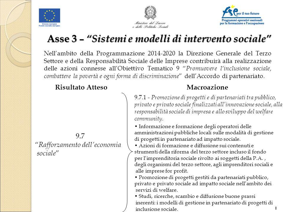 """Asse 3 – """"Sistemi e modelli di intervento sociale"""" 9.7 """" Rafforzamento dell'economia sociale """" 9.7.1 - Promozione di progetti e di partenariati tra pu"""