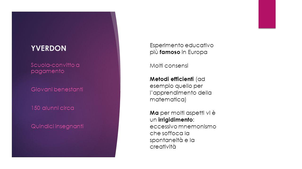 YVERDON Scuola-convitto a pagamento Giovani benestanti 150 alunni circa Quindici insegnanti Esperimento educativo più famoso in Europa Molti consensi