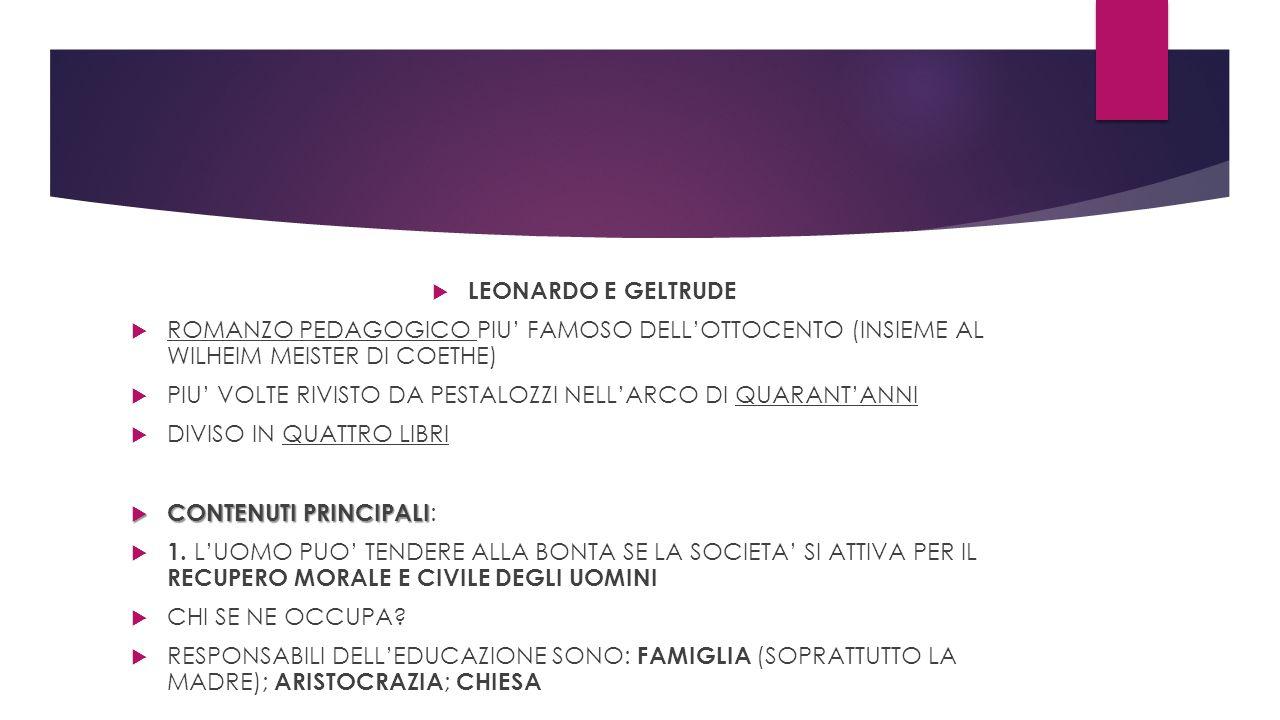  LEONARDO E GELTRUDE  ROMANZO PEDAGOGICO PIU' FAMOSO DELL'OTTOCENTO (INSIEME AL WILHEIM MEISTER DI COETHE)  PIU' VOLTE RIVISTO DA PESTALOZZI NELL'A