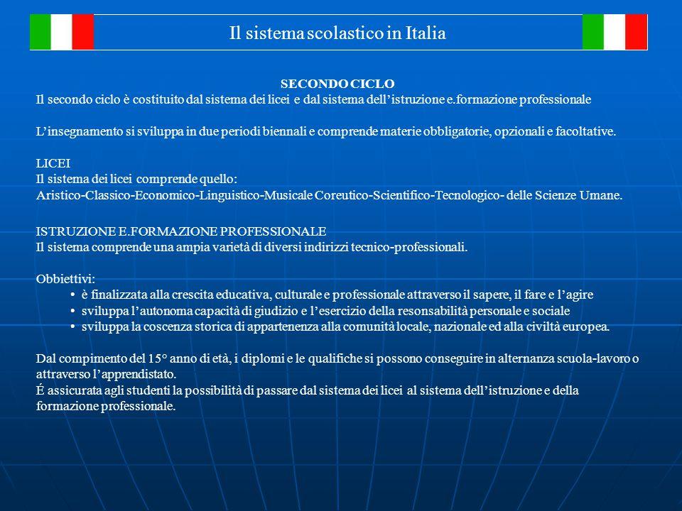 Il sistema scolastico in Italia SECONDO CICLO Il secondo ciclo è costituito dal sistema dei licei e dal sistema dell'istruzione e.formazione professionale L'insegnamento si sviluppa in due periodi biennali e comprende materie obbligatorie, opzionali e facoltative.