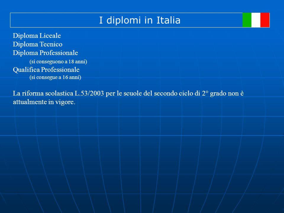 I diplomi in Italia Diploma Liceale Diploma Tecnico Diploma Professionale (si conseguono a 18 anni) Qualifica Professionale (si consegue a 16 anni) La riforma scolastica L.53/2003 per le scuole del secondo ciclo di 2° grado non è attualmente in vigore.
