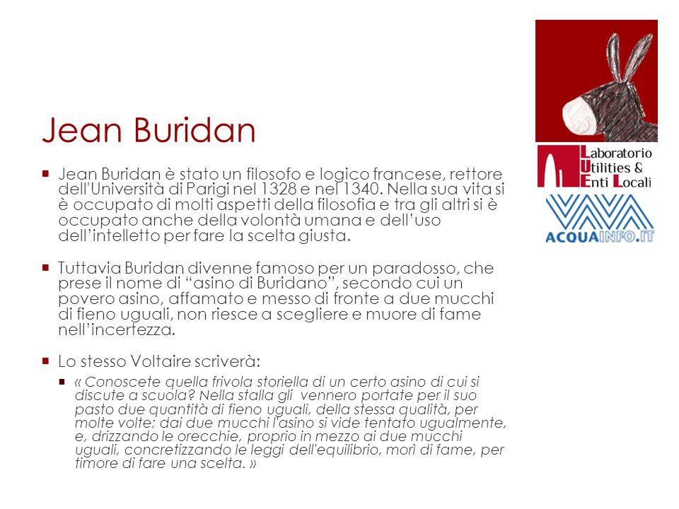 Jean Buridan  Jean Buridan è stato un filosofo e logico francese, rettore dell'Università di Parigi nel 1328 e nel 1340. Nella sua vita si è occupato