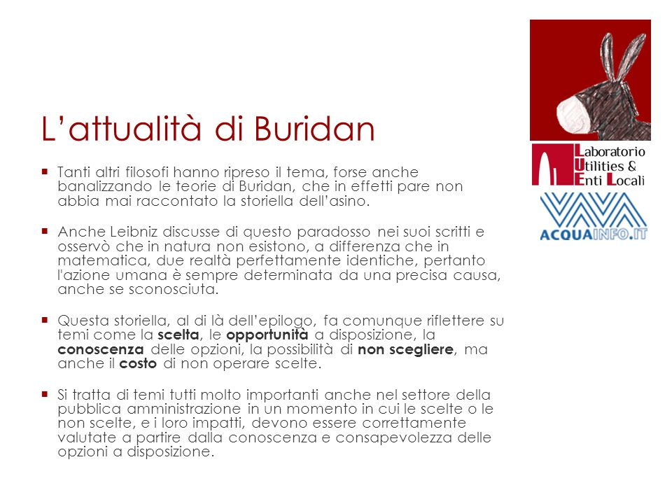 L'attualità di Buridan  Tanti altri filosofi hanno ripreso il tema, forse anche banalizzando le teorie di Buridan, che in effetti pare non abbia mai raccontato la storiella dell'asino.