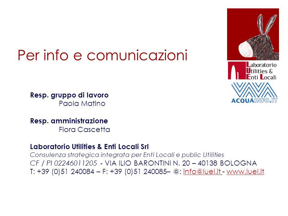Per info e comunicazioni Resp. gruppo di lavoro Paola Matino Resp.
