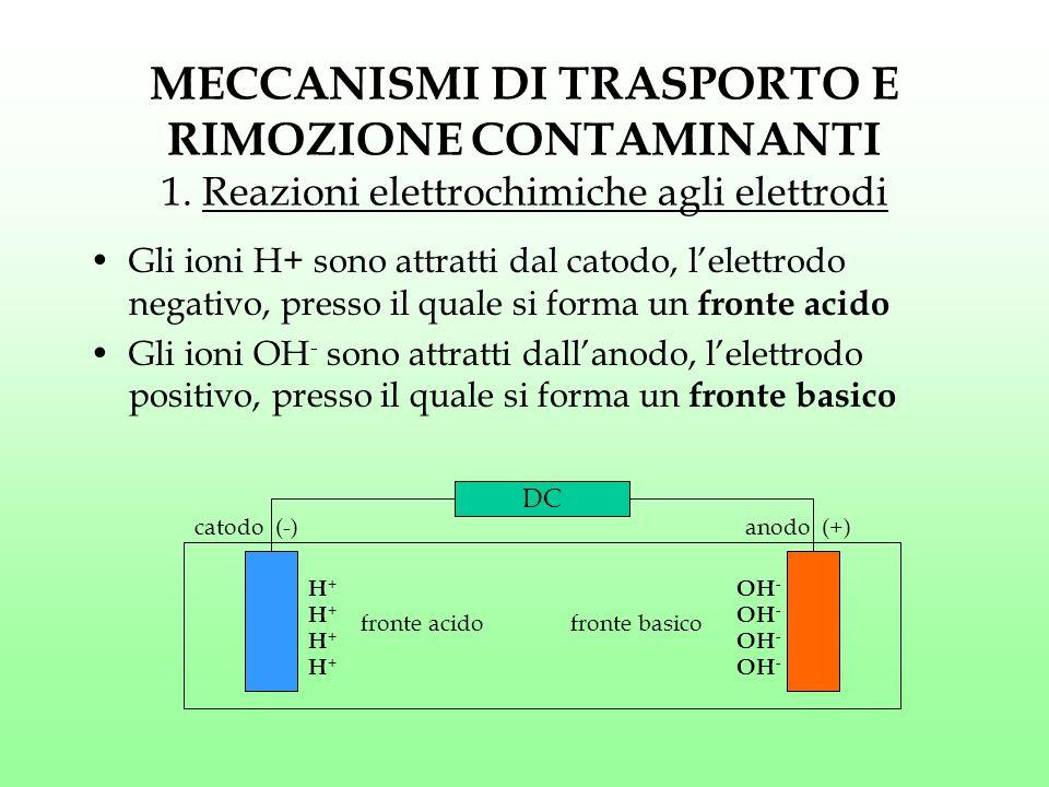 MECCANISMI DI TRASPORTO E RIMOZIONE CONTAMINANTI 1. Reazioni elettrochimiche agli elettrodi Gli ioni H+ sono attratti dal catodo, l'elettrodo negativo