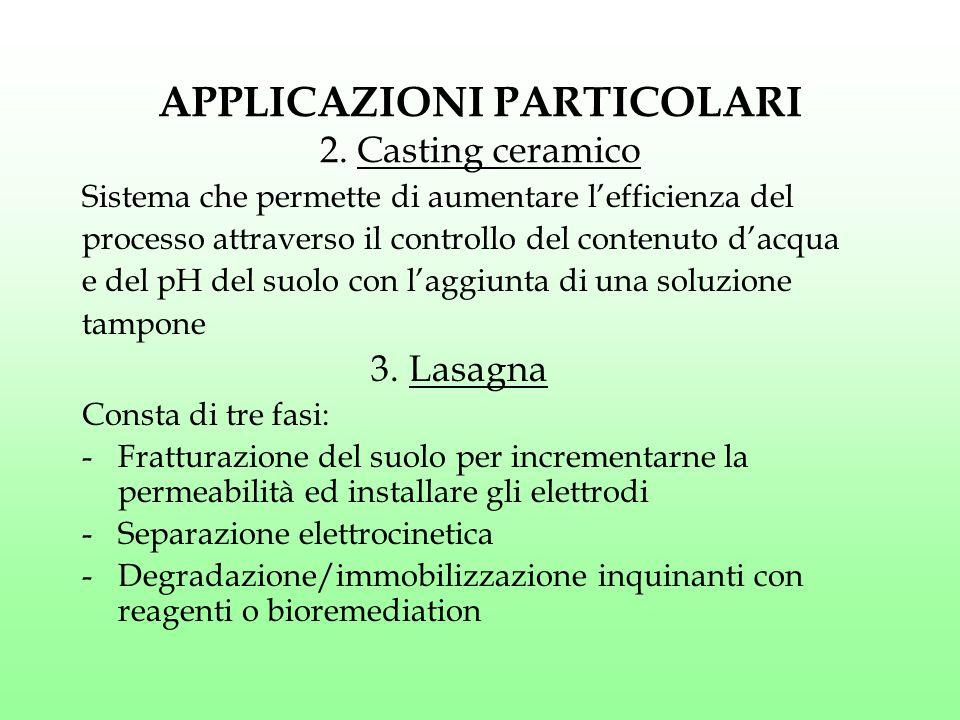 APPLICAZIONI PARTICOLARI 2. Casting ceramico Sistema che permette di aumentare l'efficienza del processo attraverso il controllo del contenuto d'acqua