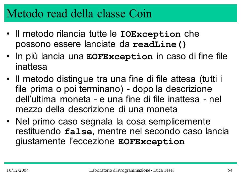 10/12/2004Laboratorio di Programmazione - Luca Tesei54 Metodo read della classe Coin Il metodo rilancia tutte le IOException che possono essere lanciate da readLine() In più lancia una EOFException in caso di fine file inattesa Il metodo distingue tra una fine di file attesa (tutti i file prima o poi terminano) - dopo la descrizione dell'ultima moneta - e una fine di file inattesa - nel mezzo della descrizione di una moneta Nel primo caso segnala la cosa semplicemente restituendo false, mentre nel secondo caso lancia giustamente l'eccezione EOFException