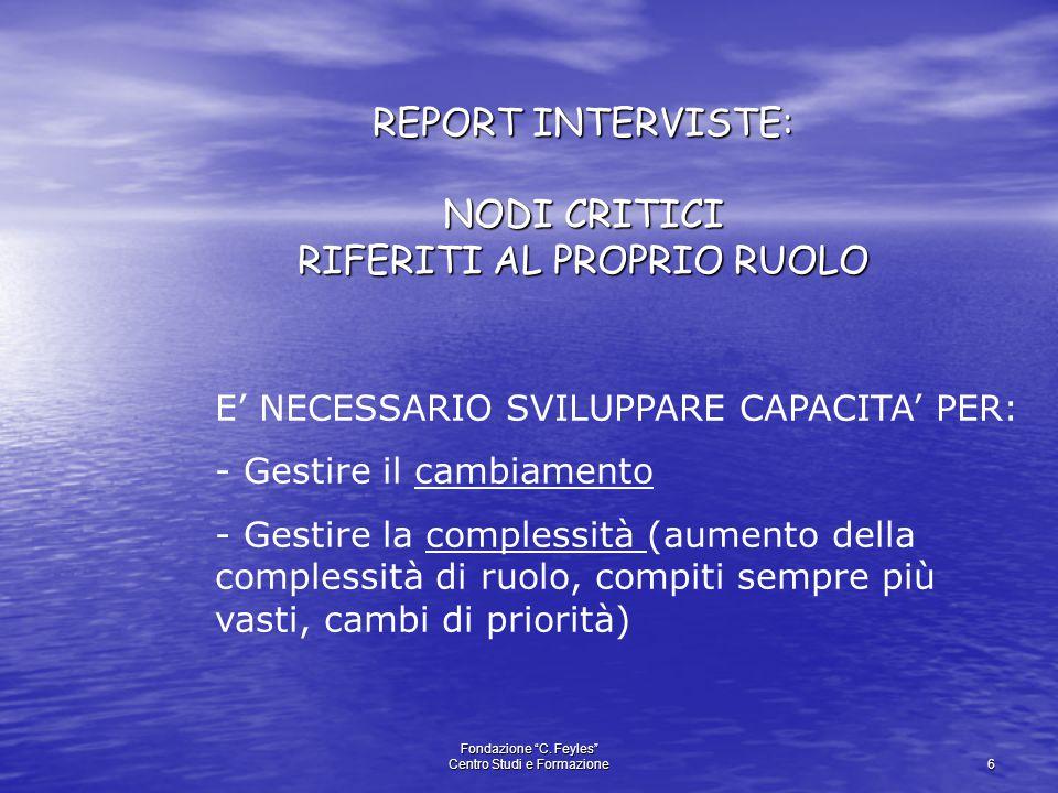 """Fondazione """"C. Feyles"""" Centro Studi e Formazione 6 REPORT INTERVISTE: NODI CRITICI RIFERITI AL PROPRIO RUOLO E' NECESSARIO SVILUPPARE CAPACITA' PER: -"""