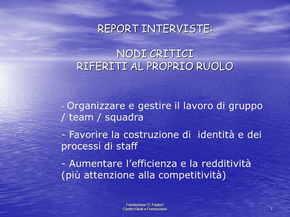 """Fondazione """"C. Feyles"""" Centro Studi e Formazione 7 REPORT INTERVISTE: NODI CRITICI RIFERITI AL PROPRIO RUOLO - Organizzare e gestire il lavoro di grup"""