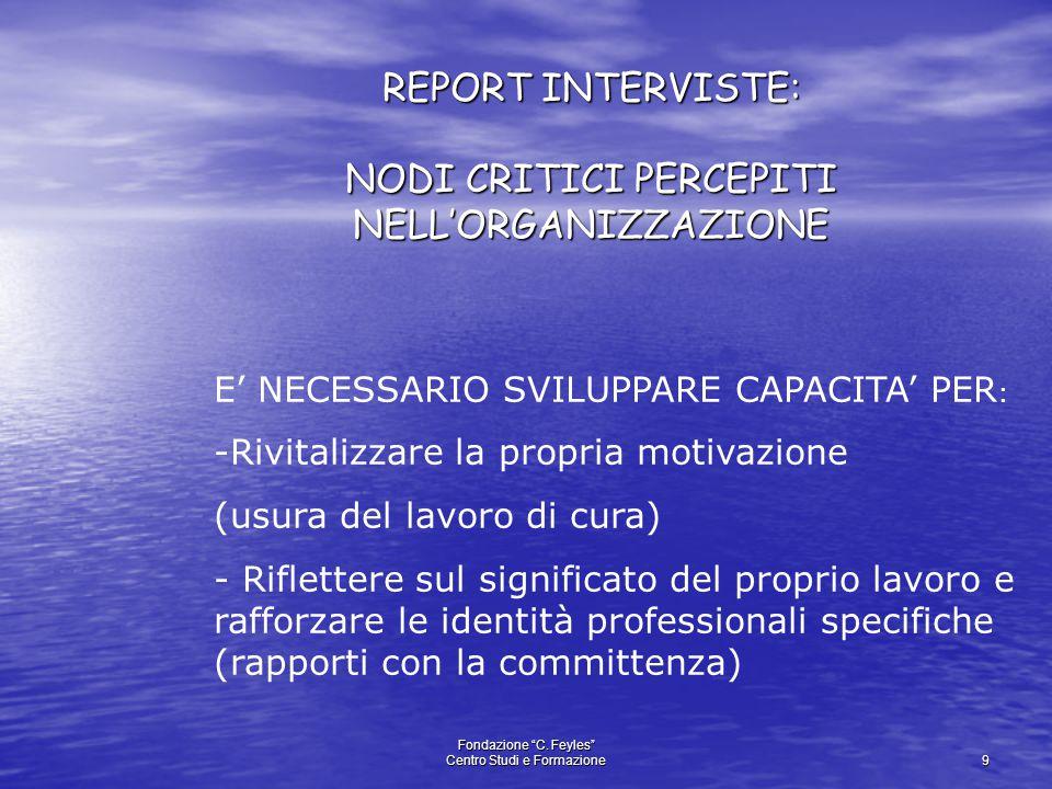 """Fondazione """"C. Feyles"""" Centro Studi e Formazione 9 REPORT INTERVISTE: NODI CRITICI PERCEPITI NELL'ORGANIZZAZIONE E' NECESSARIO SVILUPPARE CAPACITA' PE"""