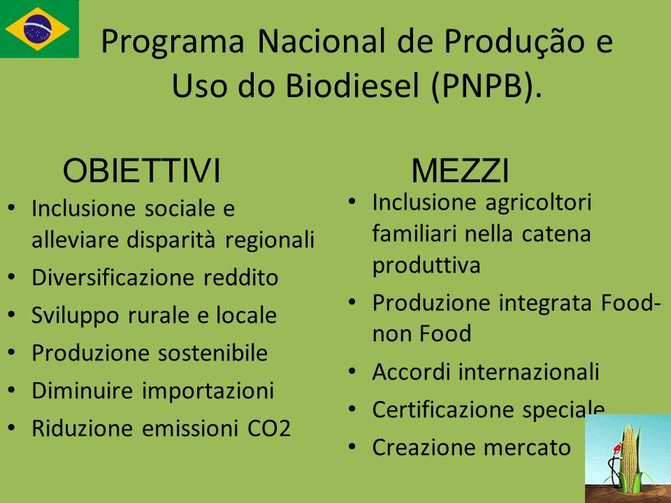 Programa Nacional de Produção e Uso do Biodiesel (PNPB). Inclusione sociale e alleviare disparità regionali Diversificazione reddito Sviluppo rurale e
