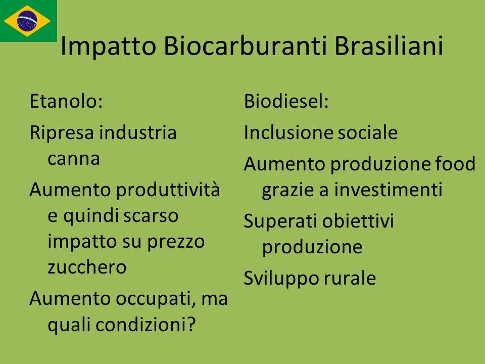 Impatto Biocarburanti Brasiliani Etanolo: Ripresa industria canna Aumento produttività e quindi scarso impatto su prezzo zucchero Aumento occupati, ma