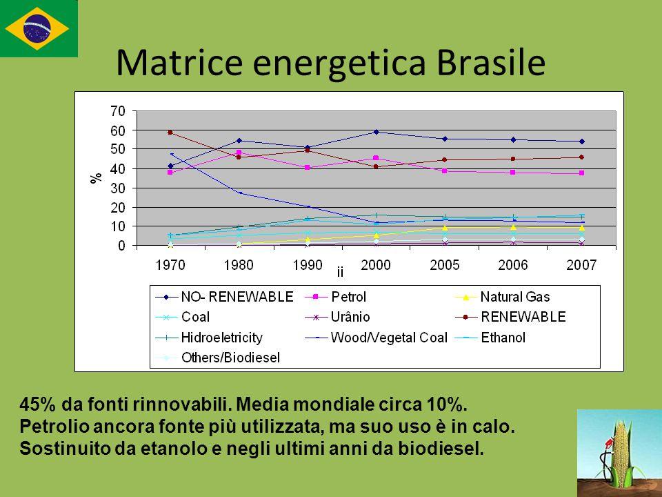 Matrice energetica Brasile 45% da fonti rinnovabili. Media mondiale circa 10%. Petrolio ancora fonte più utilizzata, ma suo uso è in calo. Sostinuito
