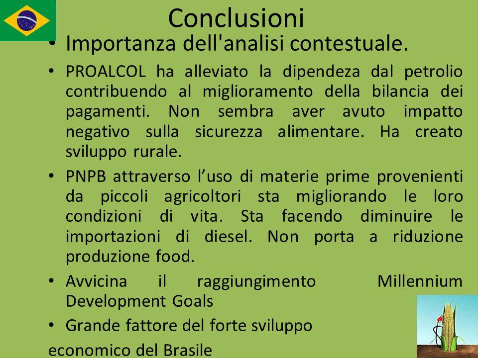 Conclusioni Importanza dell'analisi contestuale. PROALCOL ha alleviato la dipendeza dal petrolio contribuendo al miglioramento della bilancia dei paga