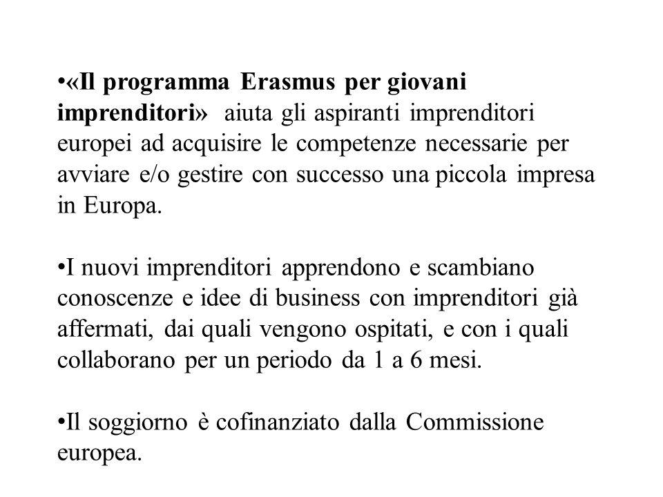 «Il programma Erasmus per giovani imprenditori» aiuta gli aspiranti imprenditori europei ad acquisire le competenze necessarie per avviare e/o gestire con successo una piccola impresa in Europa.