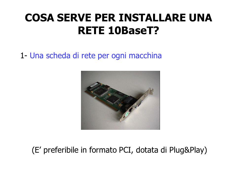 COSA SERVE PER INSTALLARE UNA RETE 10BaseT? 1- Una scheda di rete per ogni macchina (E' preferibile in formato PCI, dotata di Plug&Play)