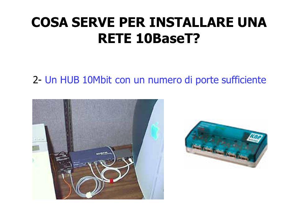 COSA SERVE PER INSTALLARE UNA RETE 10BaseT? 2- Un HUB 10Mbit con un numero di porte sufficiente
