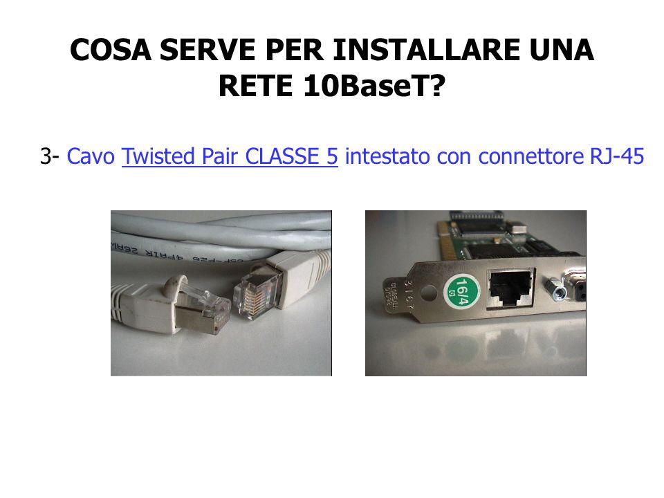 COSA SERVE PER INSTALLARE UNA RETE 10BaseT? 3- Cavo Twisted Pair CLASSE 5 intestato con connettore RJ-45