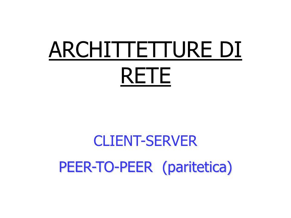 ARCHITTETTURE DI RETE CLIENT-SERVER PEER-TO-PEER (paritetica)
